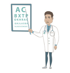 Hispanic ophthalmologist pointing at eye chart vector