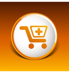 isolated shopping cart icon with a pharmacy sign vector image vector image