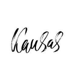 kansas modern dry brush lettering retro vector image