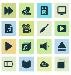 Music icons set collection of video learning vector