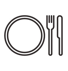 Plate knife and fork sign vector image