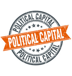 Political capital round grunge ribbon stamp vector
