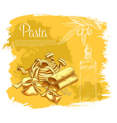 Poster of pasta for italian cuisine vector