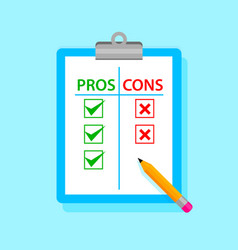Pros and cons tablet with pencil vector