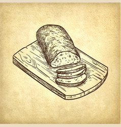 Retro style of ciabatta bread vector