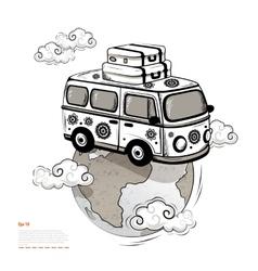Retro travel bus vector
