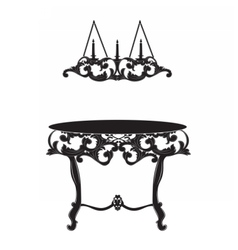 Rich Baroque commode Table and lamp vector image vector image