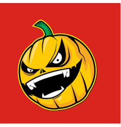 scary pumpkin head on red background vector image vector image