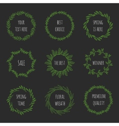 Set of floral wreathes vector image vector image