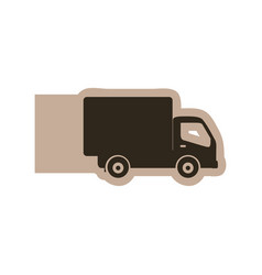 Silhouette emblem delivery car icon vector