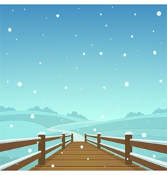 The wooden bridge vector