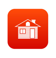wooden log house icon digital red vector image