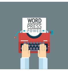 Word Power Mass Media Symbol Press Hand Typewriter vector image vector image