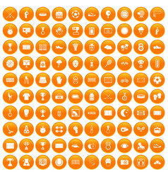 100 stadium icons set orange vector