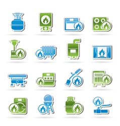 Household gas appliances icons vector
