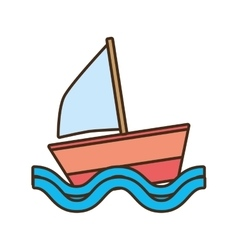 sailing ship travel beach tourism vector image