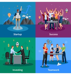 Startup 4 flat icons square poster vector