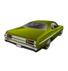 Green muscle car vector