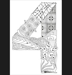 Number four zentangle decorative object vector