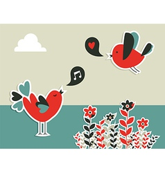 Social media birds communication vector