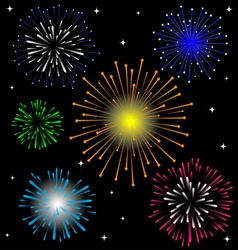 Colorful firework set vector