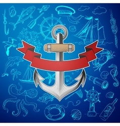 Anchor with hand-drawn elements of marine theme vector