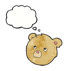 Cartoon teddy bear face with thought bubble vector