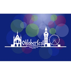 Oktoberfest card with munich landscape an vector