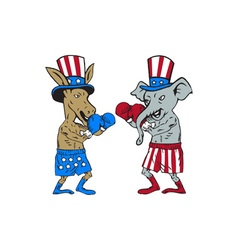 Democrat donkey boxer and republican elephant vector