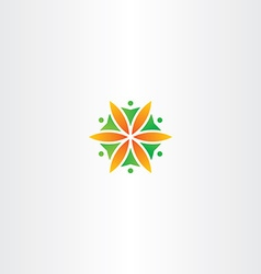 Flower circle people logo icon vector