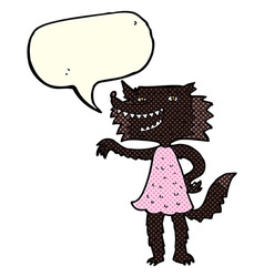 cartoon wolf girl with speech bubble vector image