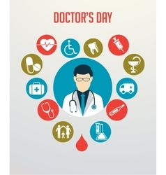 Doctor with stethoscope around his neck and vector