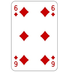 Poker playing card 6 diamond vector