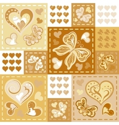 Romantic seamless patterns in patchwork style vector