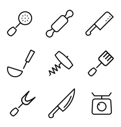 Line kitchen and cooking icons set vector