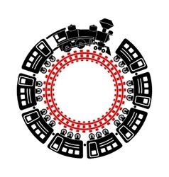 Train and round railway icon simple style vector image