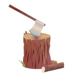Axe on stump vector