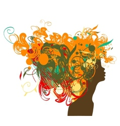Beauty retro girl silhouette with multicolor hair vector image