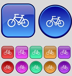 Bicycle icon sign A set of twelve vintage buttons vector image vector image