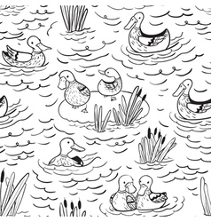 black and white seamless pattern with ducks vector image vector image