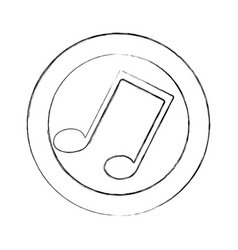 Blurred silhouette circular frame with musical vector