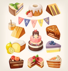 Cakes and pies vector