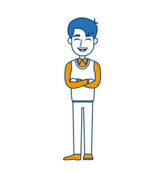 Cartoon man standing character male vector