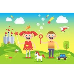 Children in wonderland vector