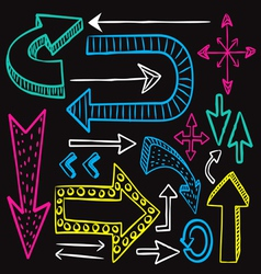 colorful arrow doodle on black background vector image vector image