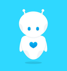 cute funny white robot bot with blue heart vector image vector image