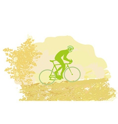 Cycling man silhouette on abstract Grunge Poster vector image