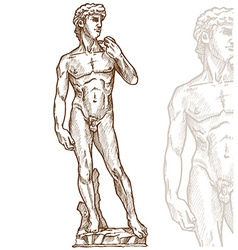 david statue of Michelangelo hand drawn vector image