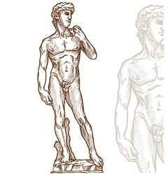 david statue of Michelangelo hand drawn vector image vector image