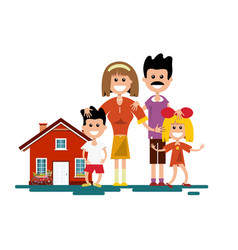 Family with house isolated vector
